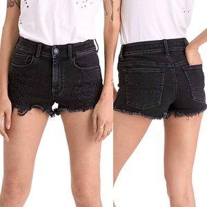 AEO • Black Frayed Hi-Rise Shortie Shorts • Sz 6